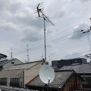 テレビアンテナの立て直し【京都市北区】