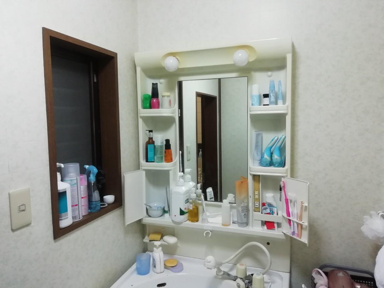 パナソニック エムライン 洗面化粧台の交換工事(京都市北区紫野)