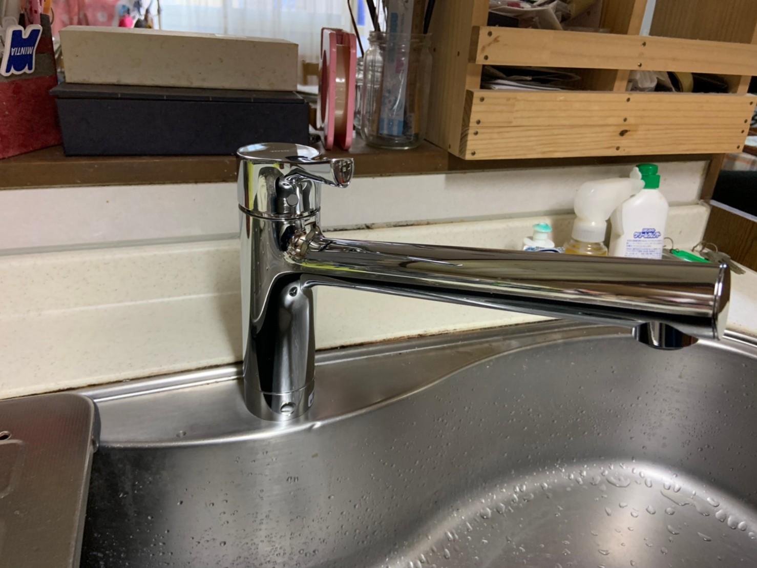 台所水栓の交換|TOTO TKS05301J|京都市北区西賀茂