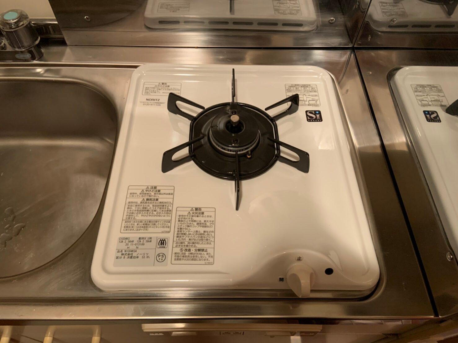 ビルトイン一口ガスコンロの交換|ノーリツ N1C04KSA|京都市中京区