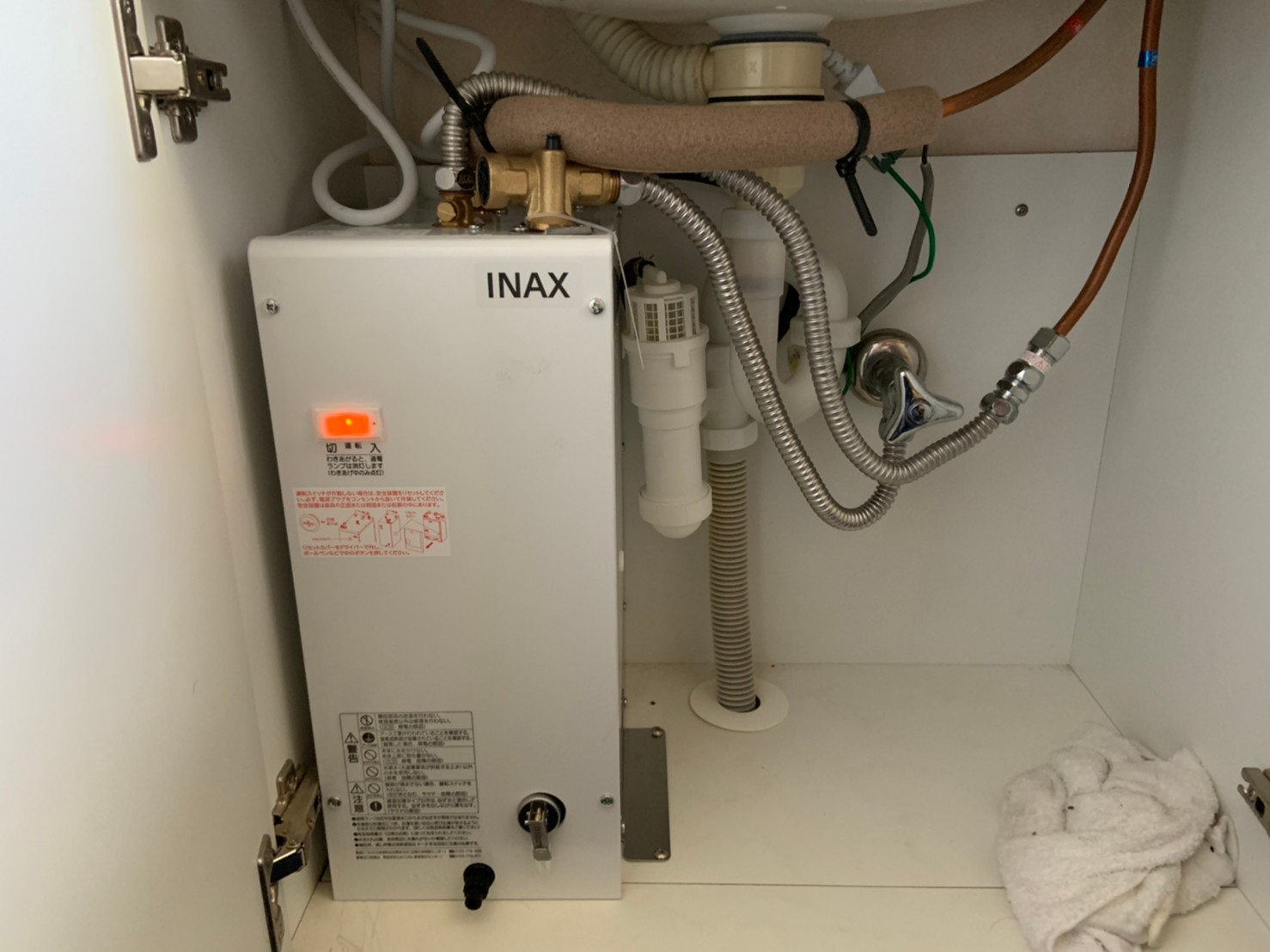 小型温水器の交換工事|LIXIL ゆプラス EHPN-F6N4|京都市左京区