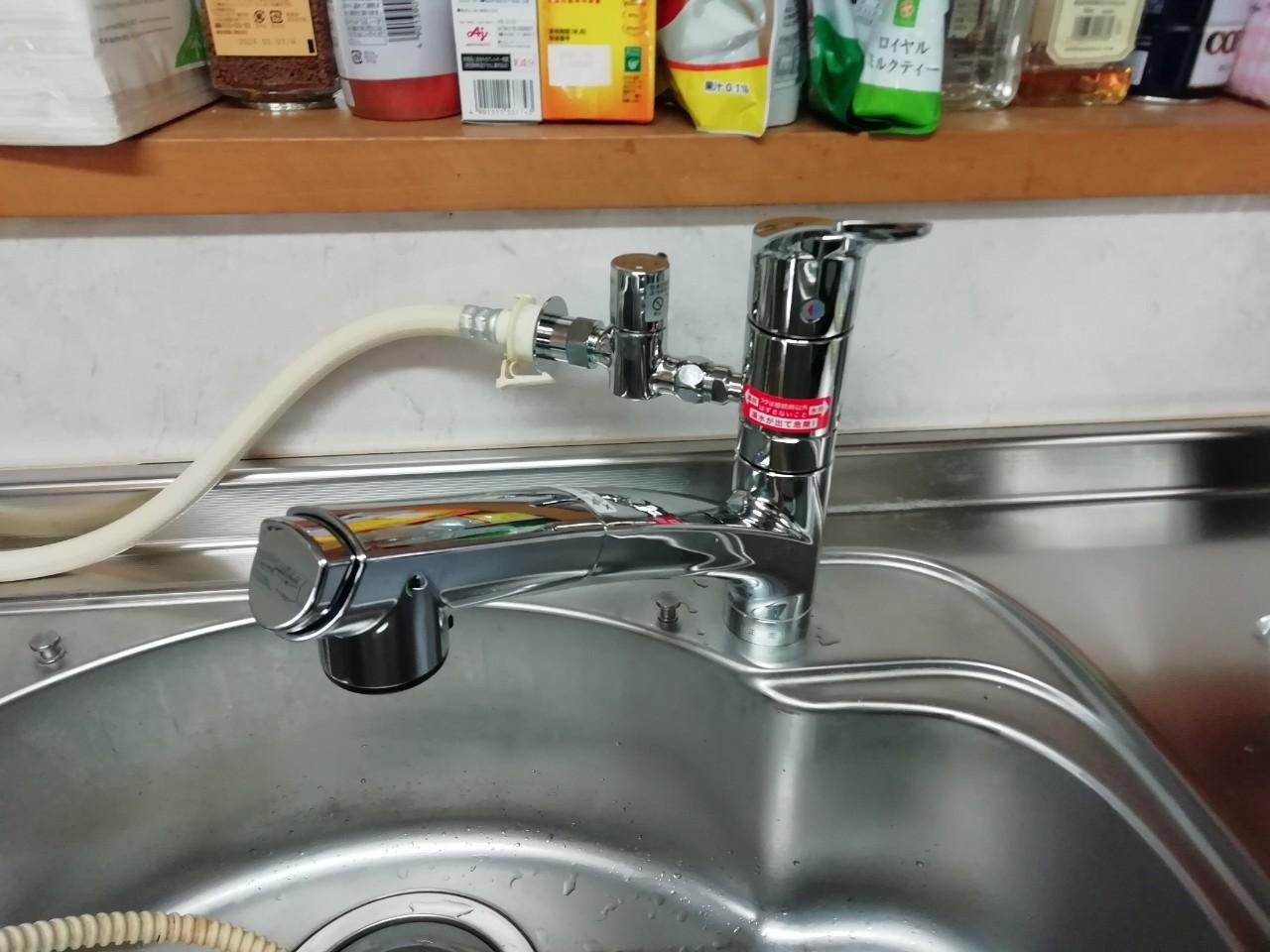 キッチン水栓の交換工事|KM5021TTU|京都市上京区